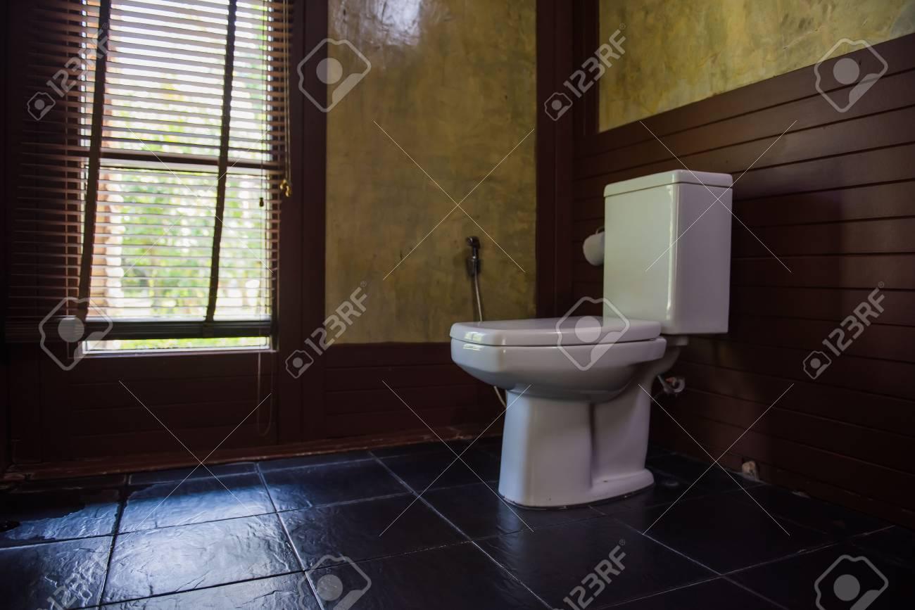 . Interior Of Modern Toilet bowl in Vintage bathroom