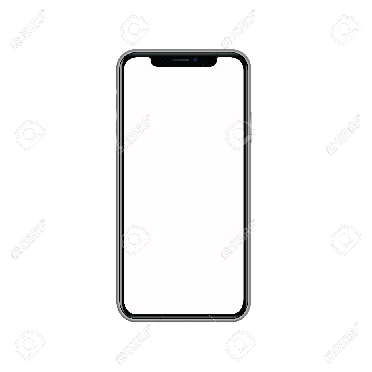 Iphone 空白の画面で x。白い背景上に分離。現実的な