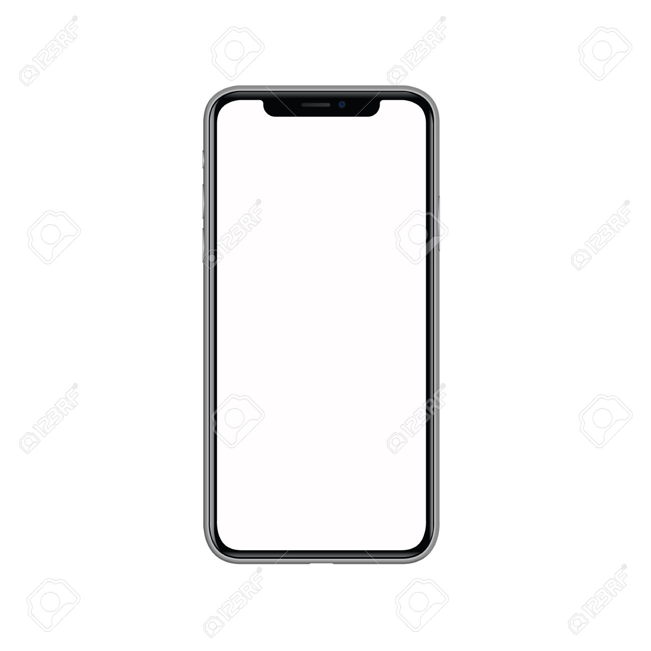 Iphone X With Blank White Screen Isolated On White Background