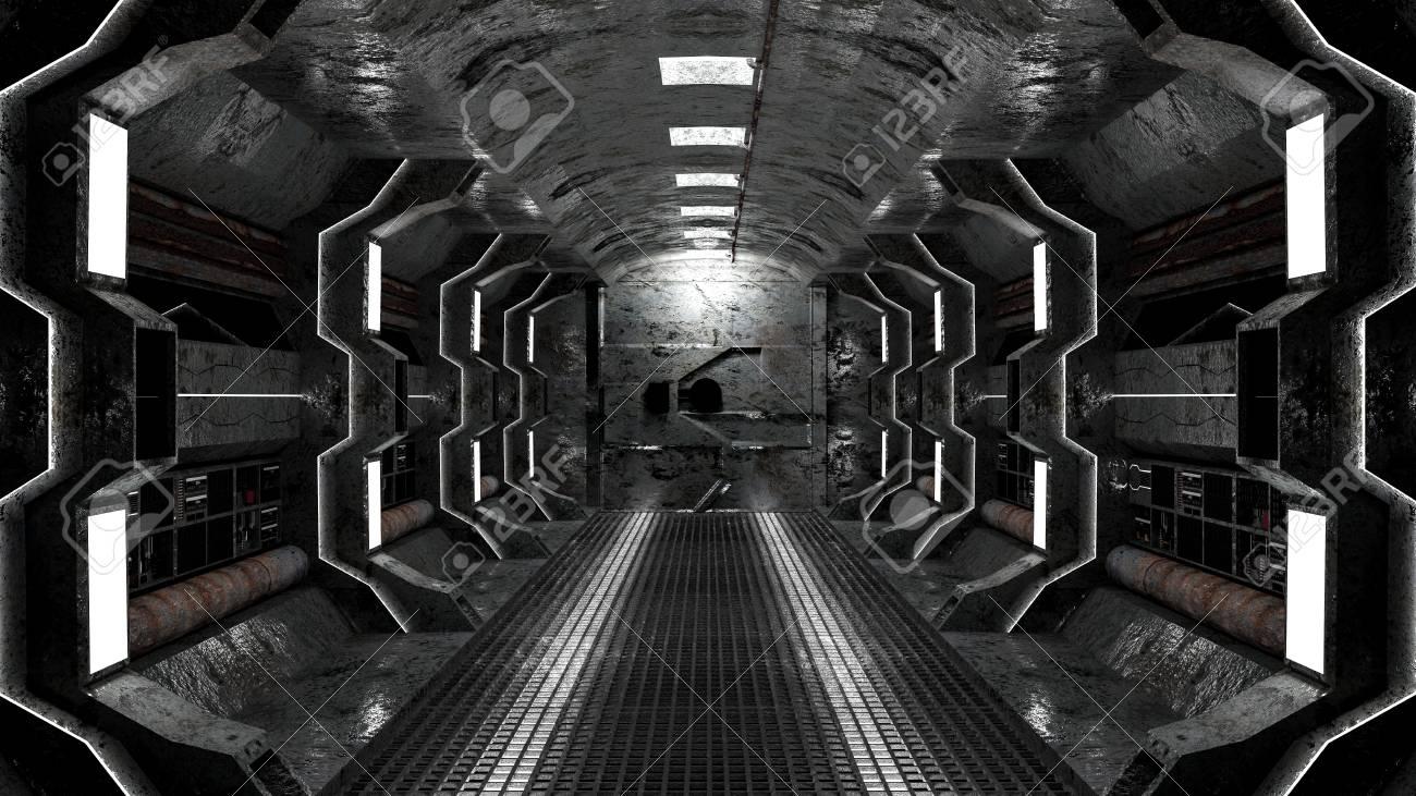 realistic old spaceship sci-fi corridor , 3D render. - 92771662