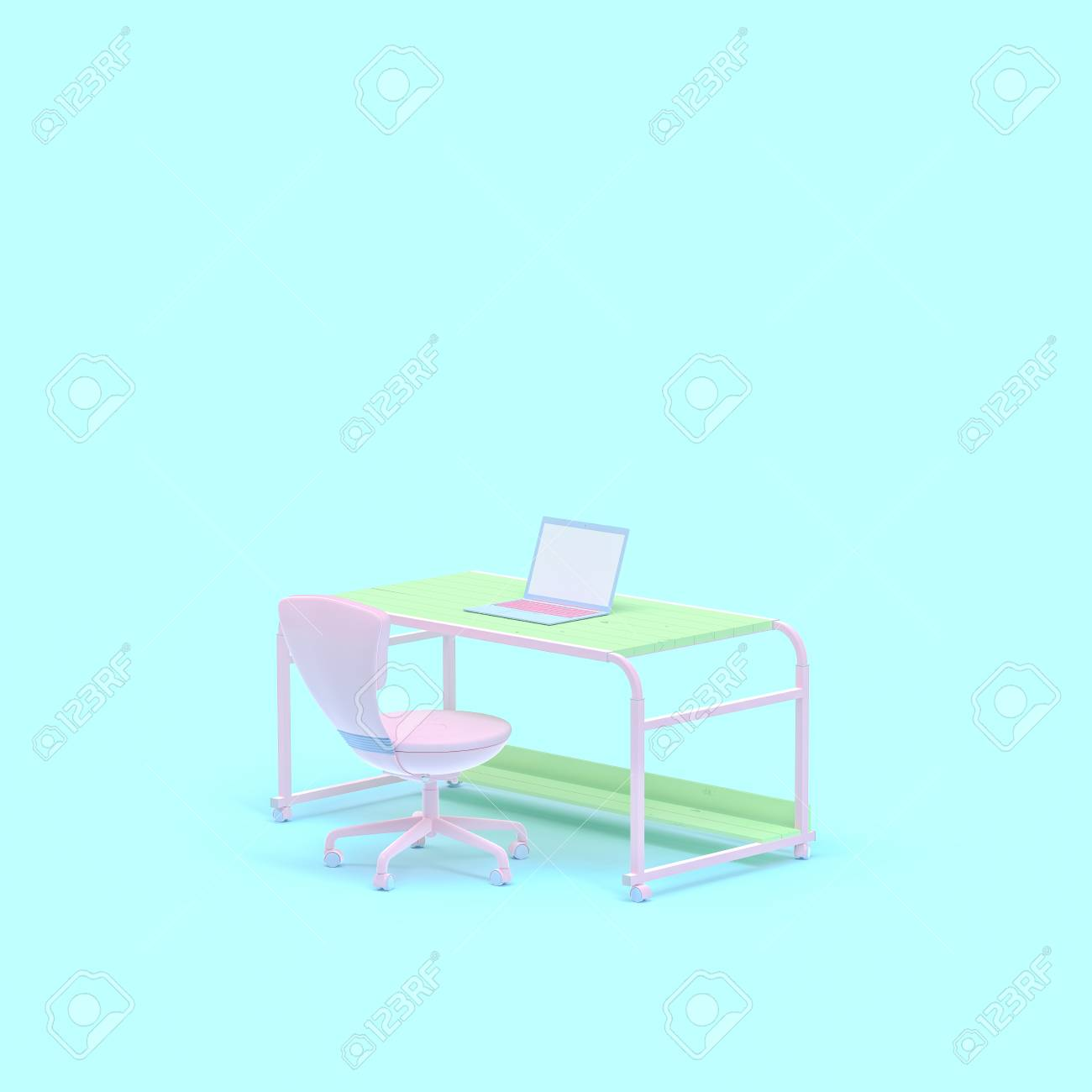 Admirable Pastel Color Concept Work Desk And Laptop On Table And Chair Ncnpc Chair Design For Home Ncnpcorg