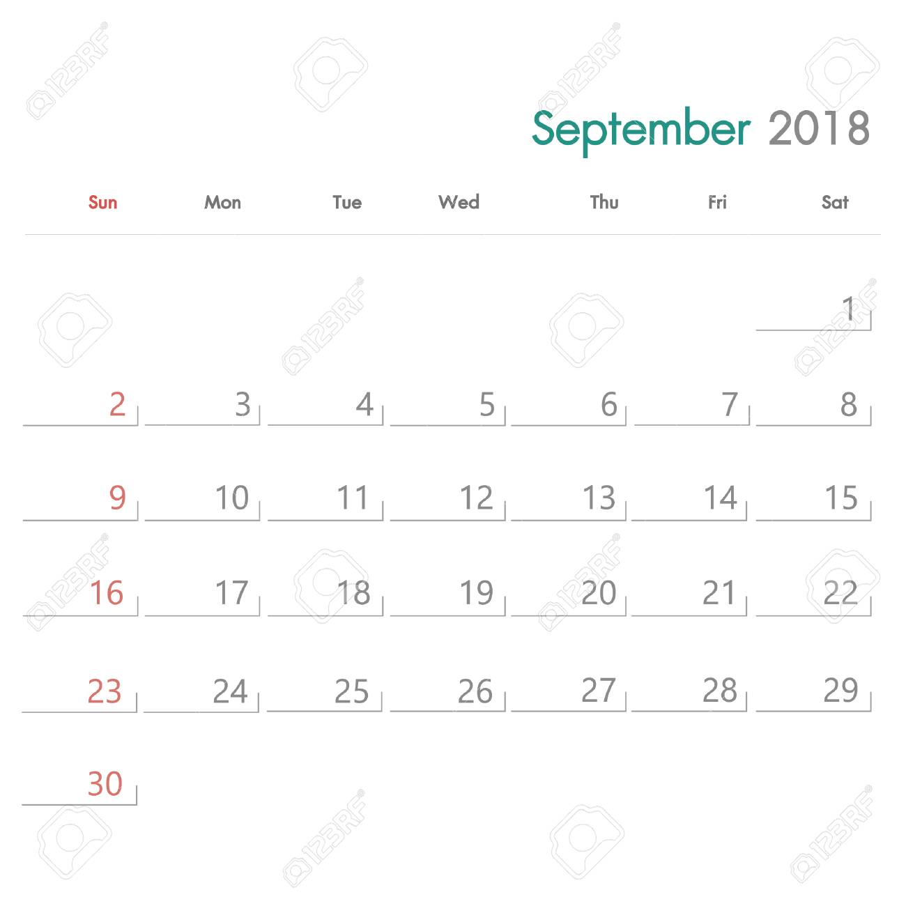 September 2018 Simple Calendar Template Royalty Free Cliparts