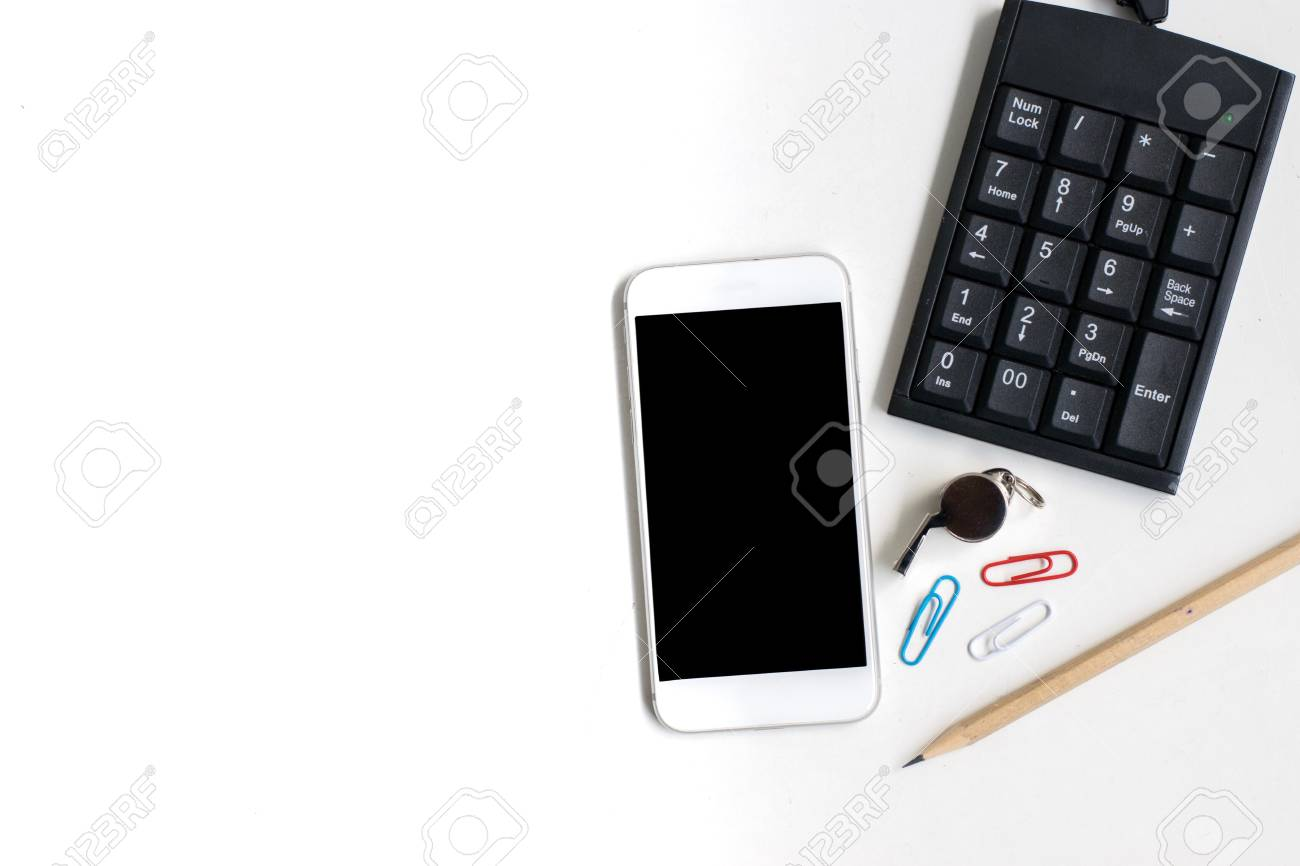 Smartphone With Pencil And Calculator On White Background Using