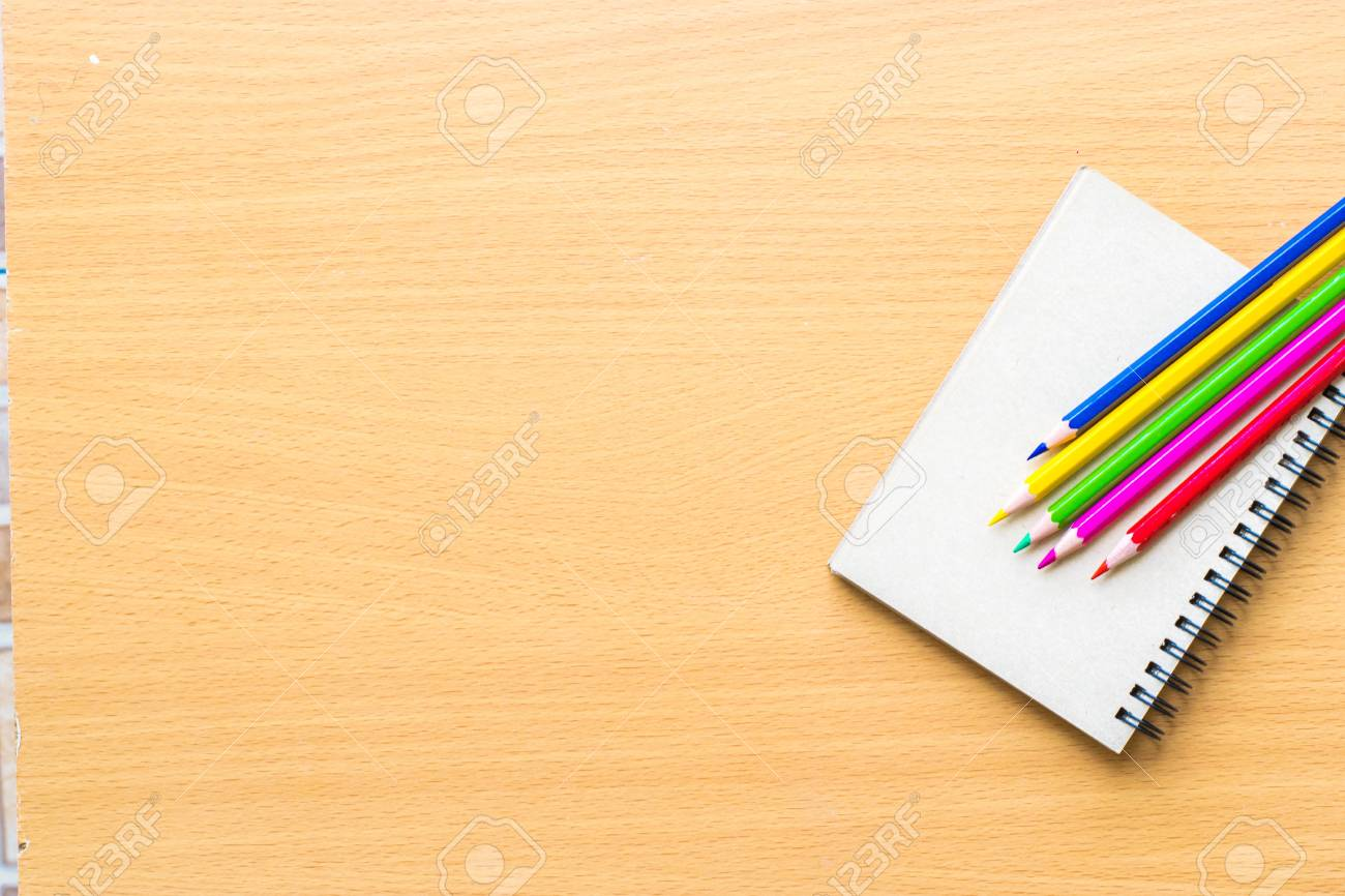Notepad With Pencil On Wood Board Background Using Wallpaper Stock Photo Picture And Royalty Free Image Image 83940334