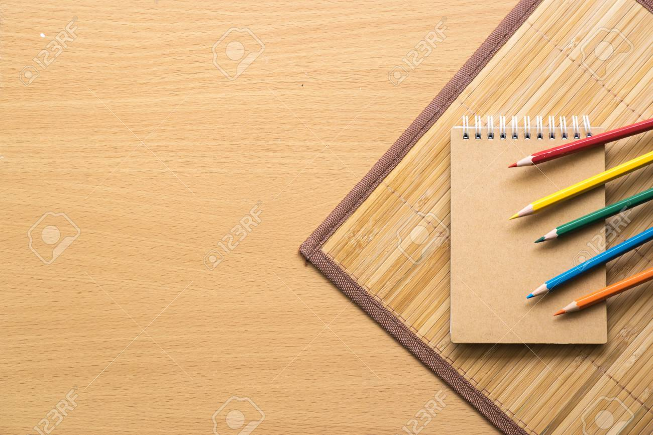 Notepad With Pencil On Wood Board Background Using Wallpaper Stock Photo Picture And Royalty Free Image Image 85774536
