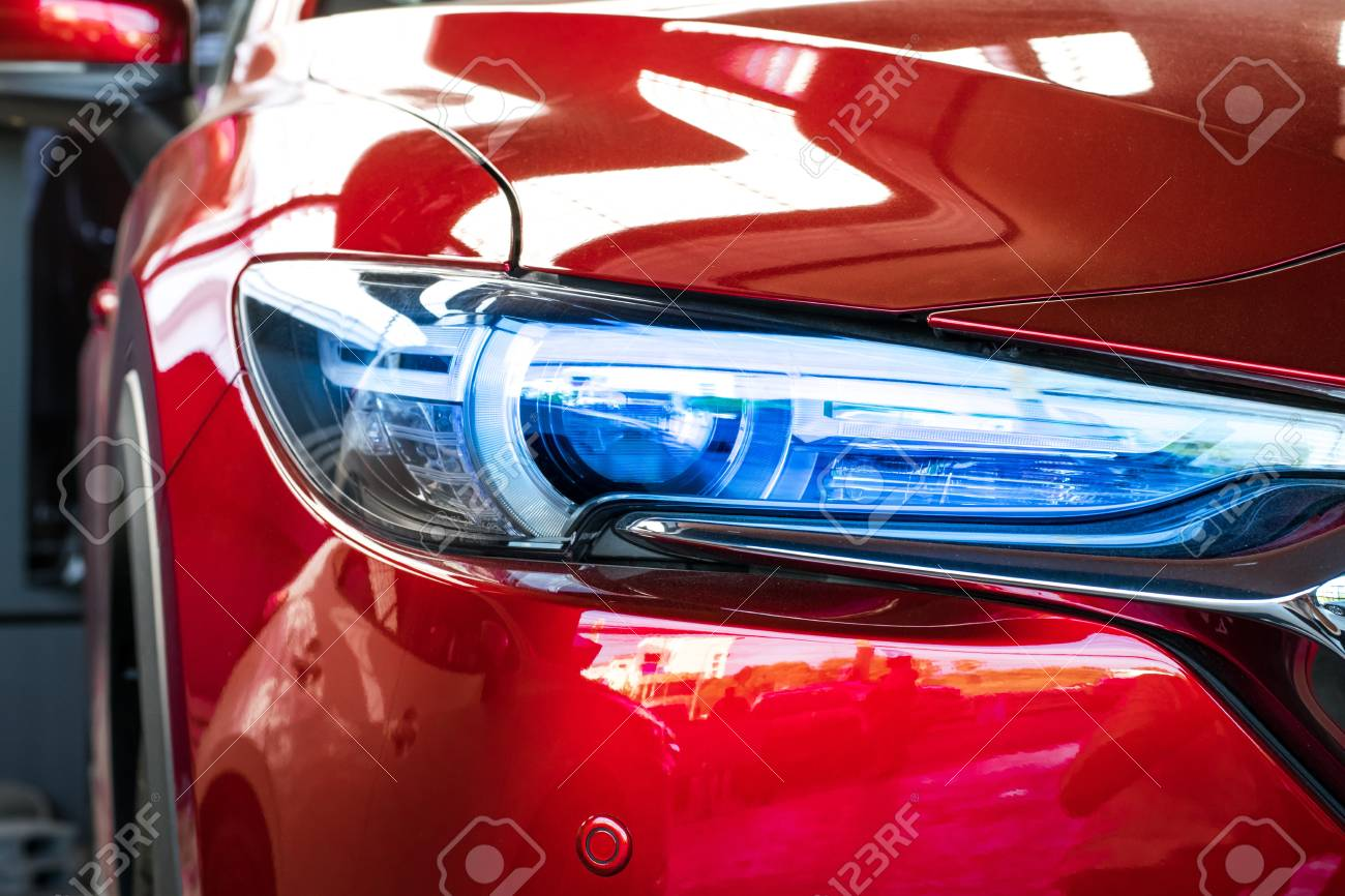 Led headlight car for customers. Using wallpaper or background for transport and automotive image. - 92051558