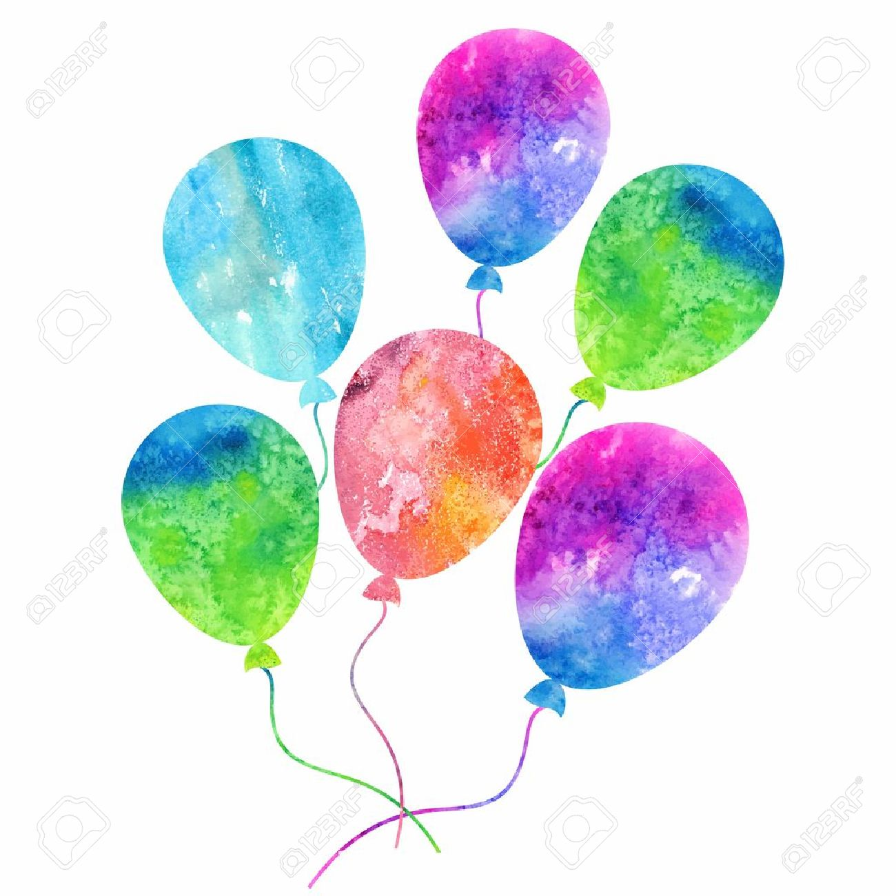 Colorful Inflatable Balloons Birthday Card Decoration Royalty Free