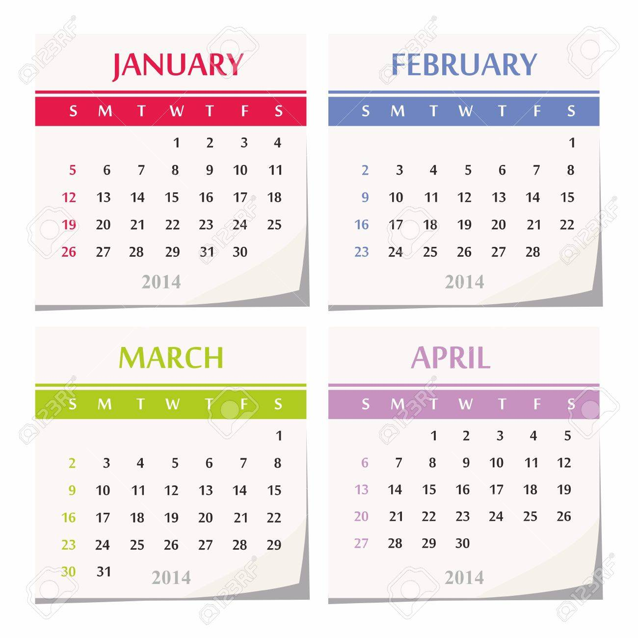 2014 Diseño De Calendario Conjunto De Cuatro Meses Enero Febrero