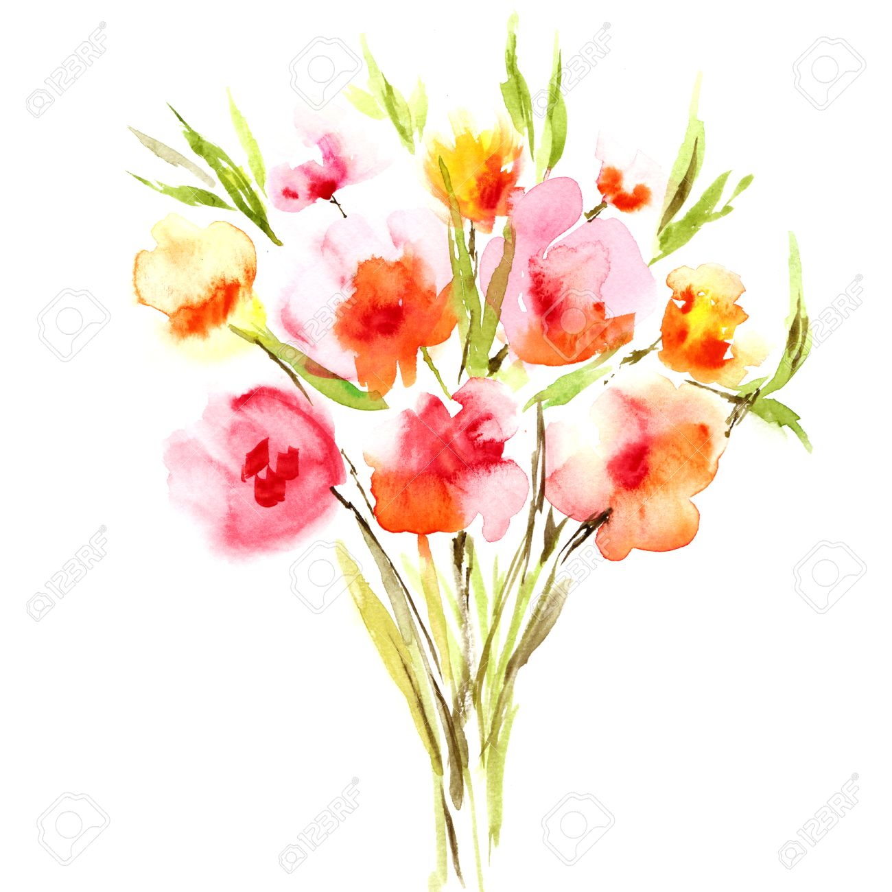 Flowers Watercolor Floral Bouquet Floral Background Birthday