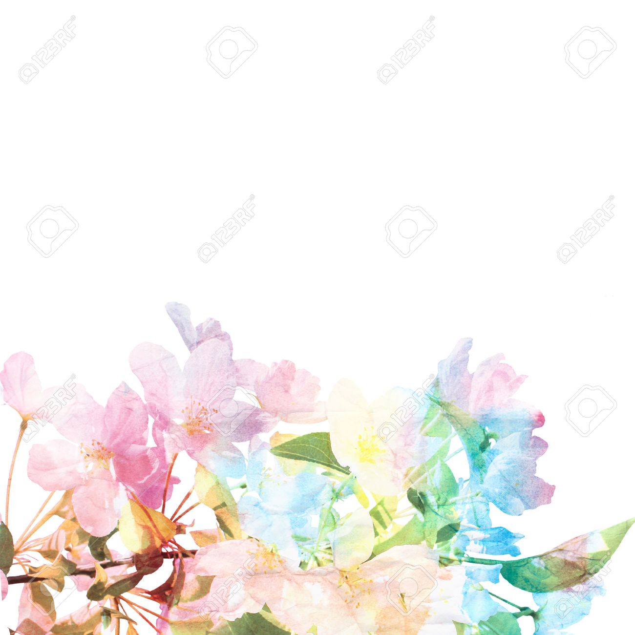 Floral Background Watercolor Floral Bouquet Card Stock Photo