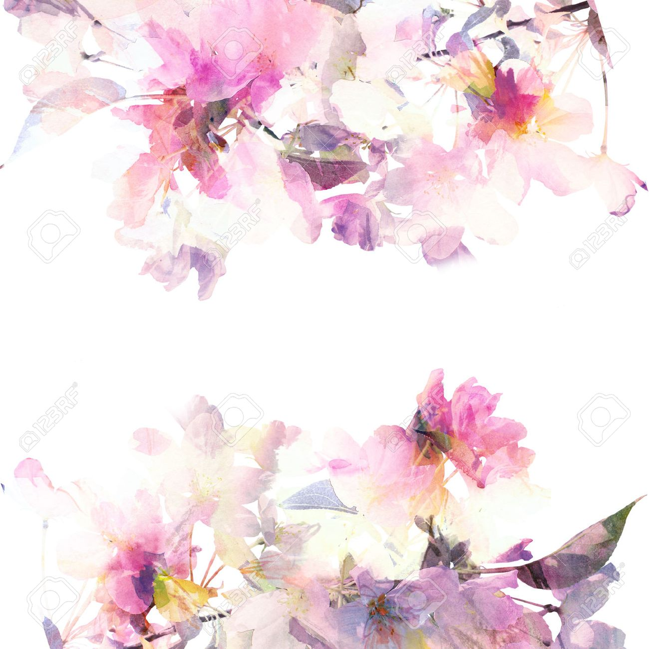 Floral Background Watercolor Floral Bouquet Birthday Card Stock