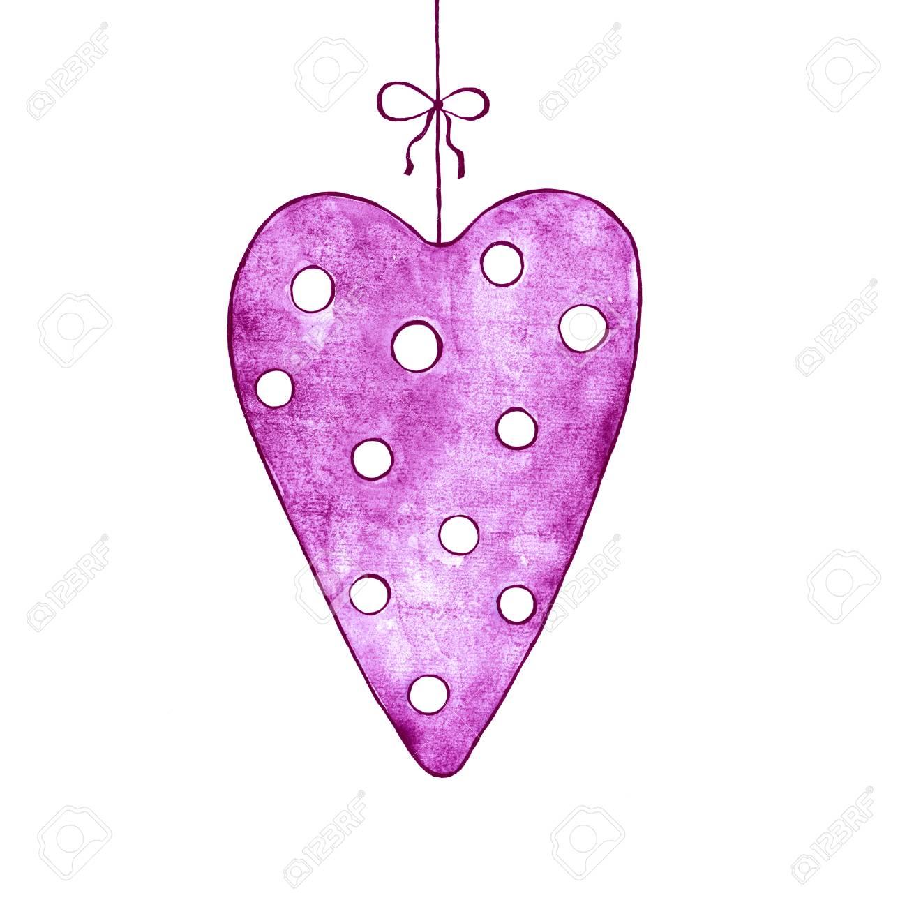 Carte Romantique Avec Une Décoration Coeur De L'amour Rose. Banque on