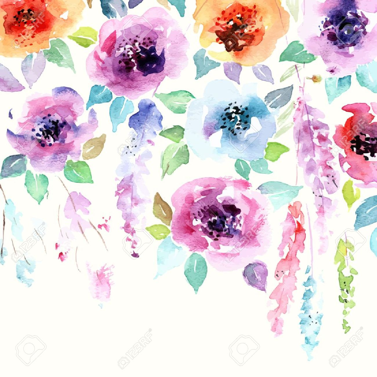 Floral Background Watercolor Floral Bouquet Birthday Card