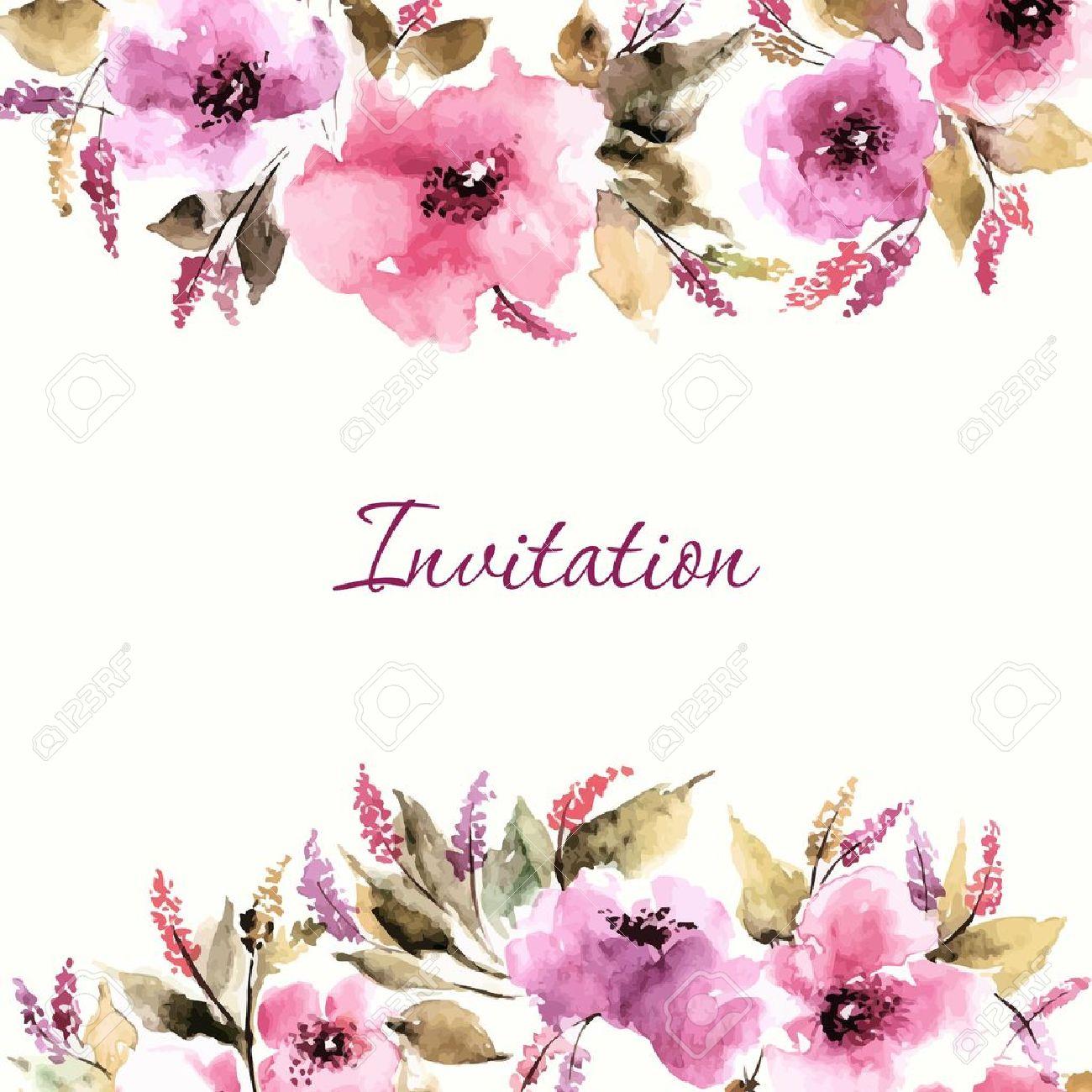 Tarjeta De Cumpleaños Floral Invitación De La Boda Fondo Floral Acuarela Ramo Floral Marco Decorativo Floral