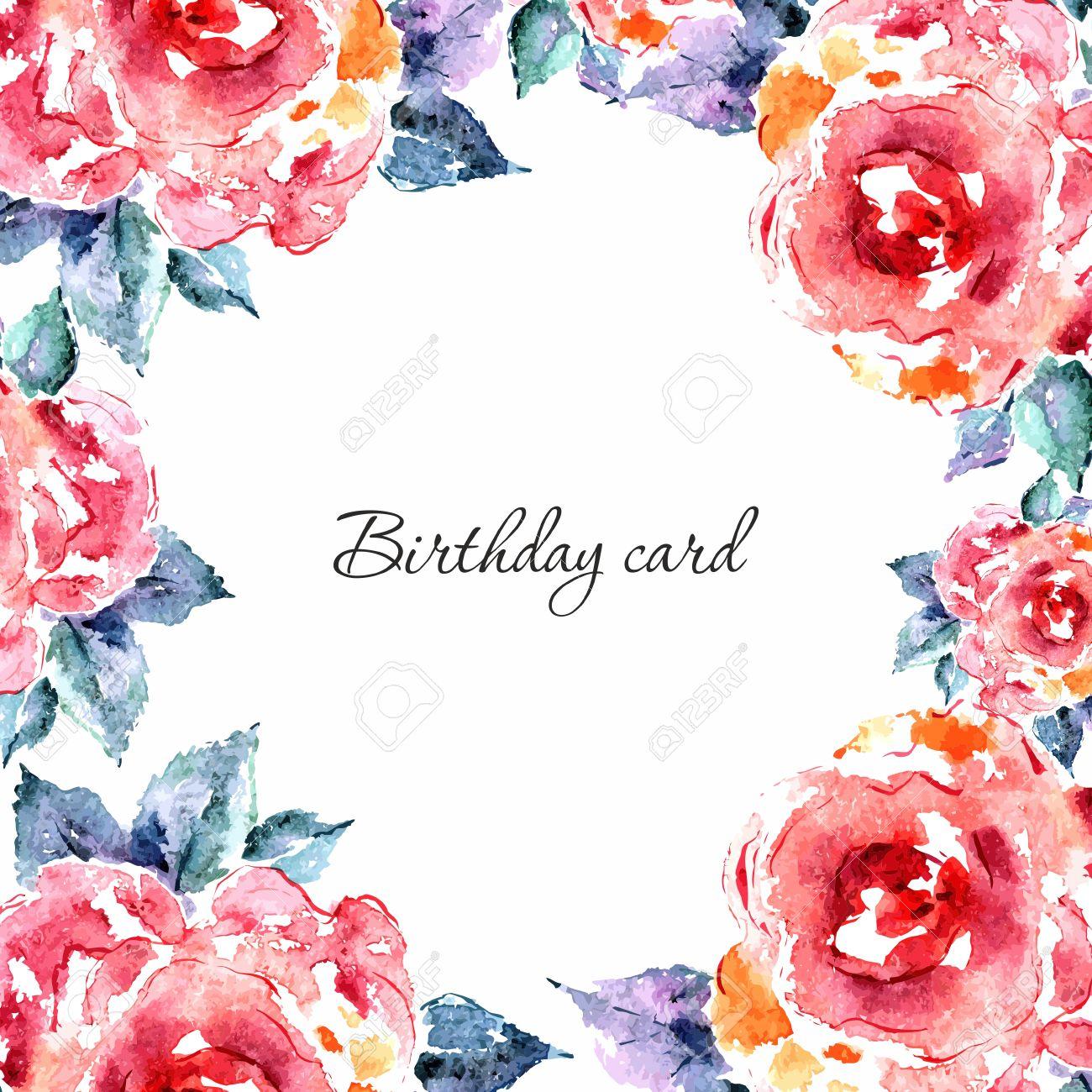 Invitación Tarjeta De Boda Tarjeta De Cumpleaños Marco Floral Fondo De La Acuarela Con Las Flores