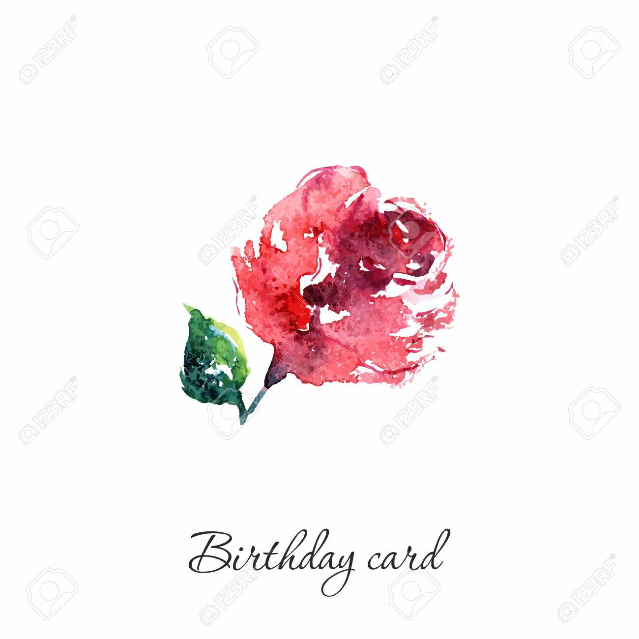 Watercolor Card With Rose Birthday Single Flower Stock Vector