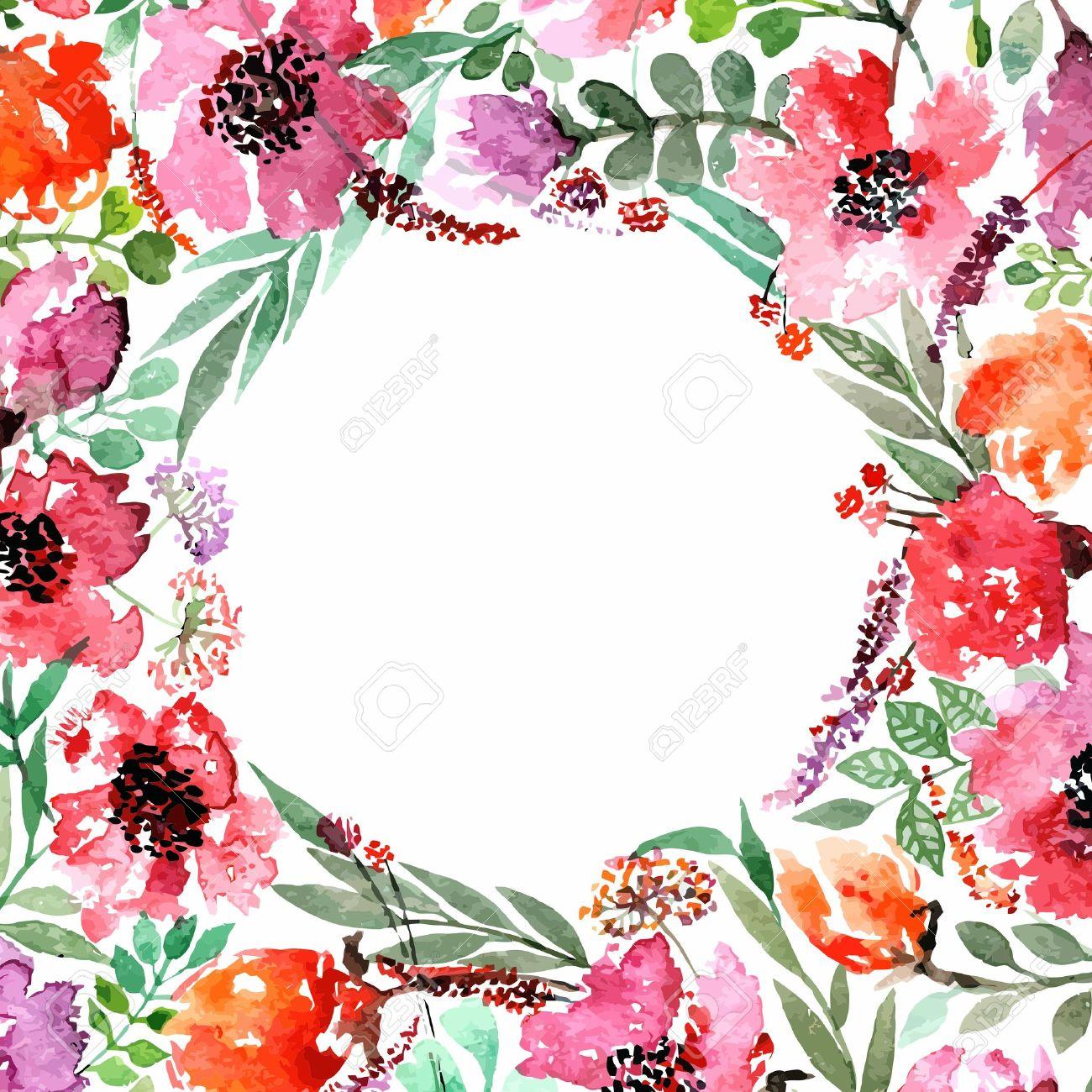 Invitación Boda O Tarjeta De Cumpleaños Marco Floral Fondo De La Acuarela Con Las Flores