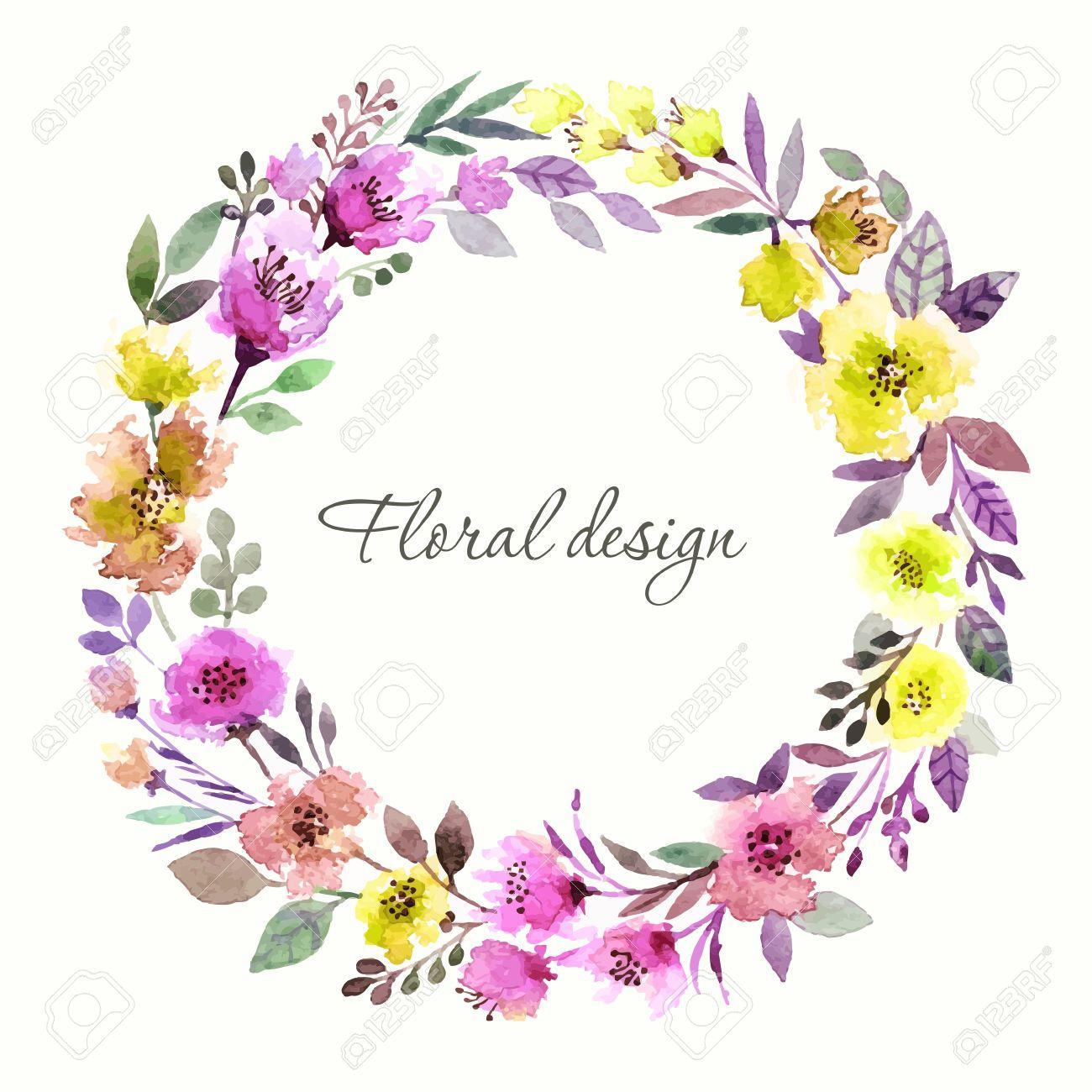 banque dimages couronne de fleurs invitation mariage ou carte danniversaire floral frame fond daquarelle avec des fleurs