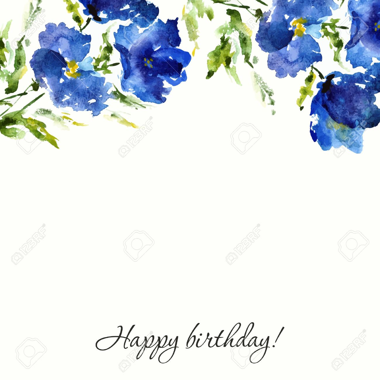 Blue Floral Background Watercolor Flowers Birthday Or Wedding Design Stock Vector