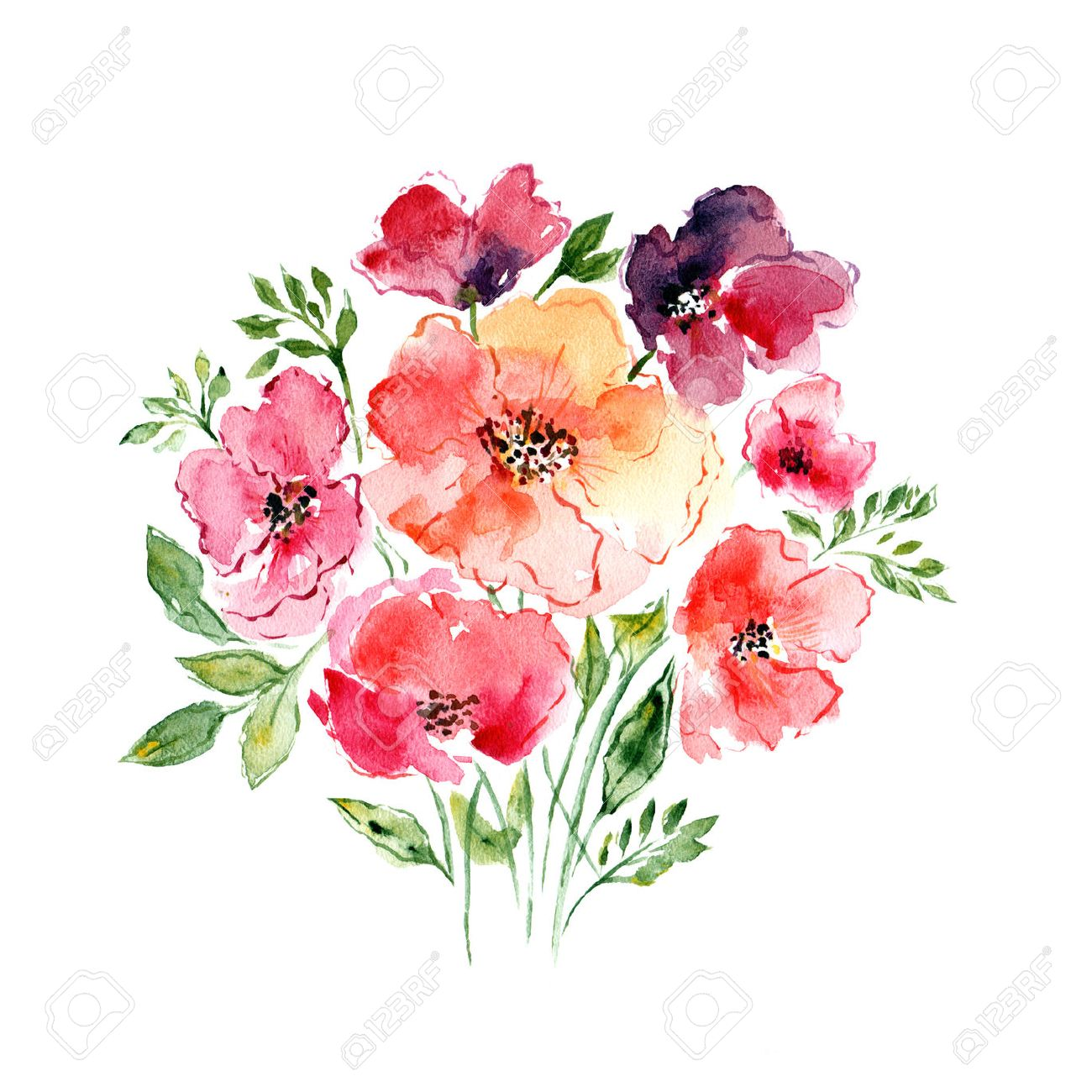 Watercolor Floral Bouquet Floral Background Birthday Card Stock
