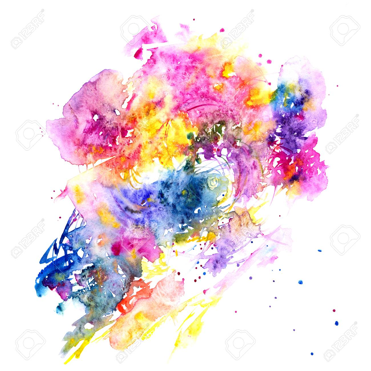 Multicolor watercolor splash abstract background stock photo 98209987