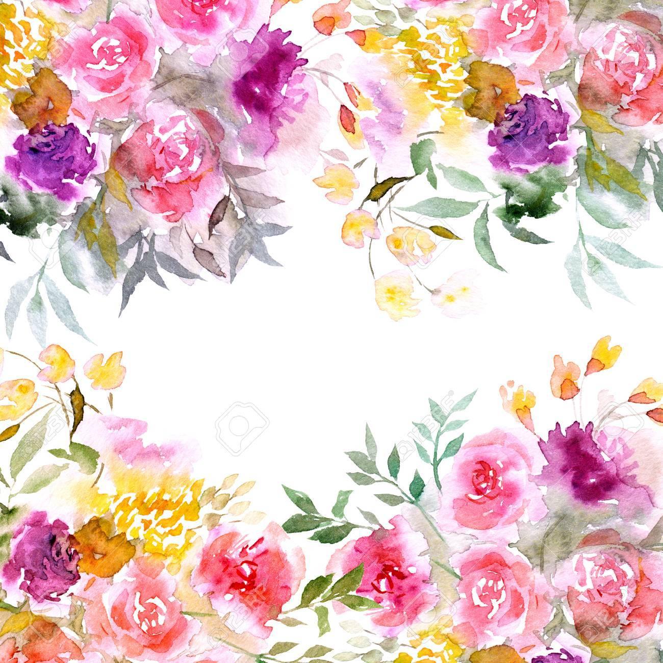 Fondo Floral Ramo Floral De Acuarela Tarjeta De Cumpleaños O Invitación De Boda Frontera Floral Marco Floral