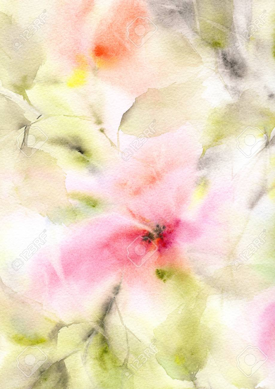 Floral Background Watercolor Floral Background Greeting Card