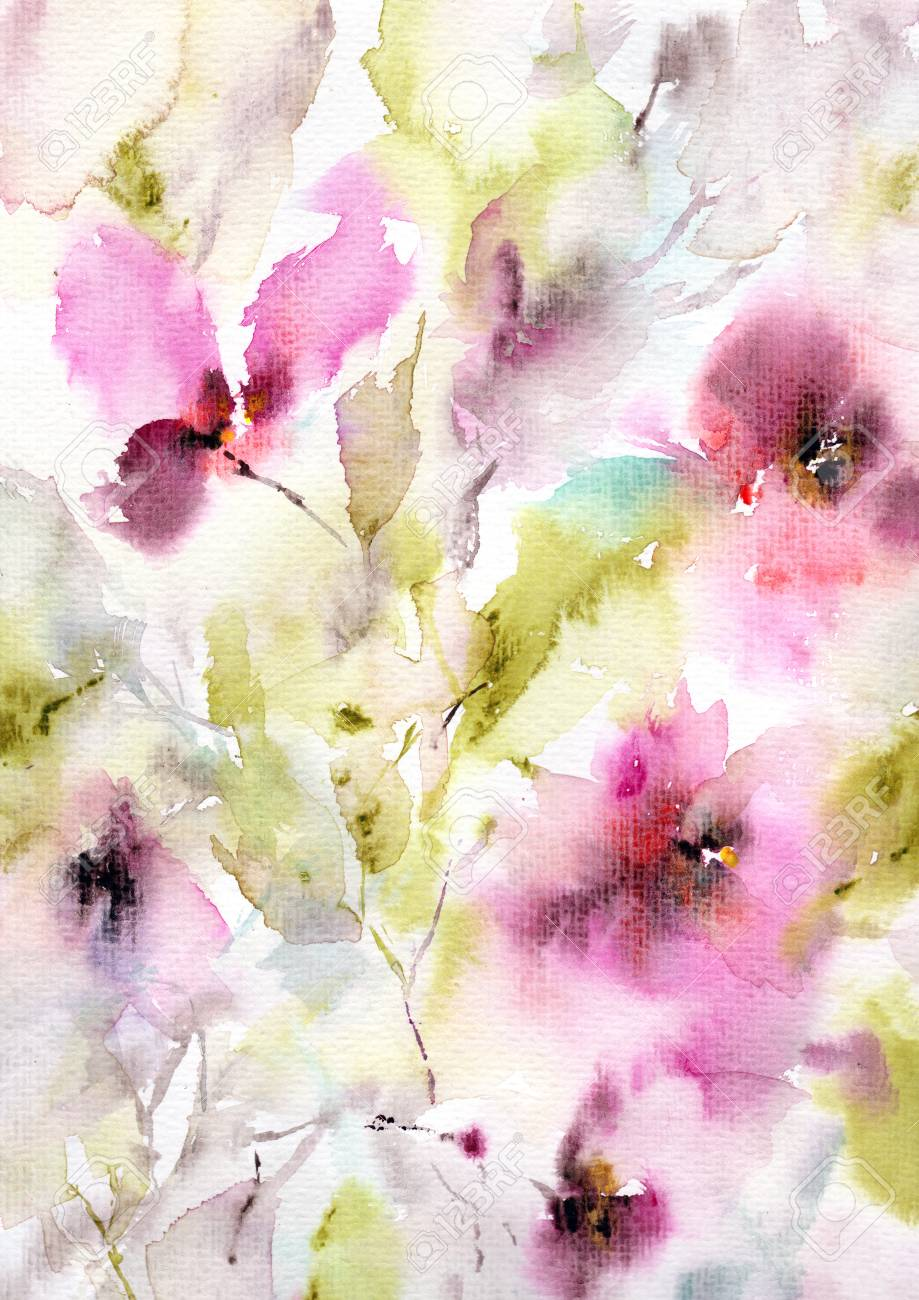 Retro Background With Flowers Watercolor Floral Background Stock