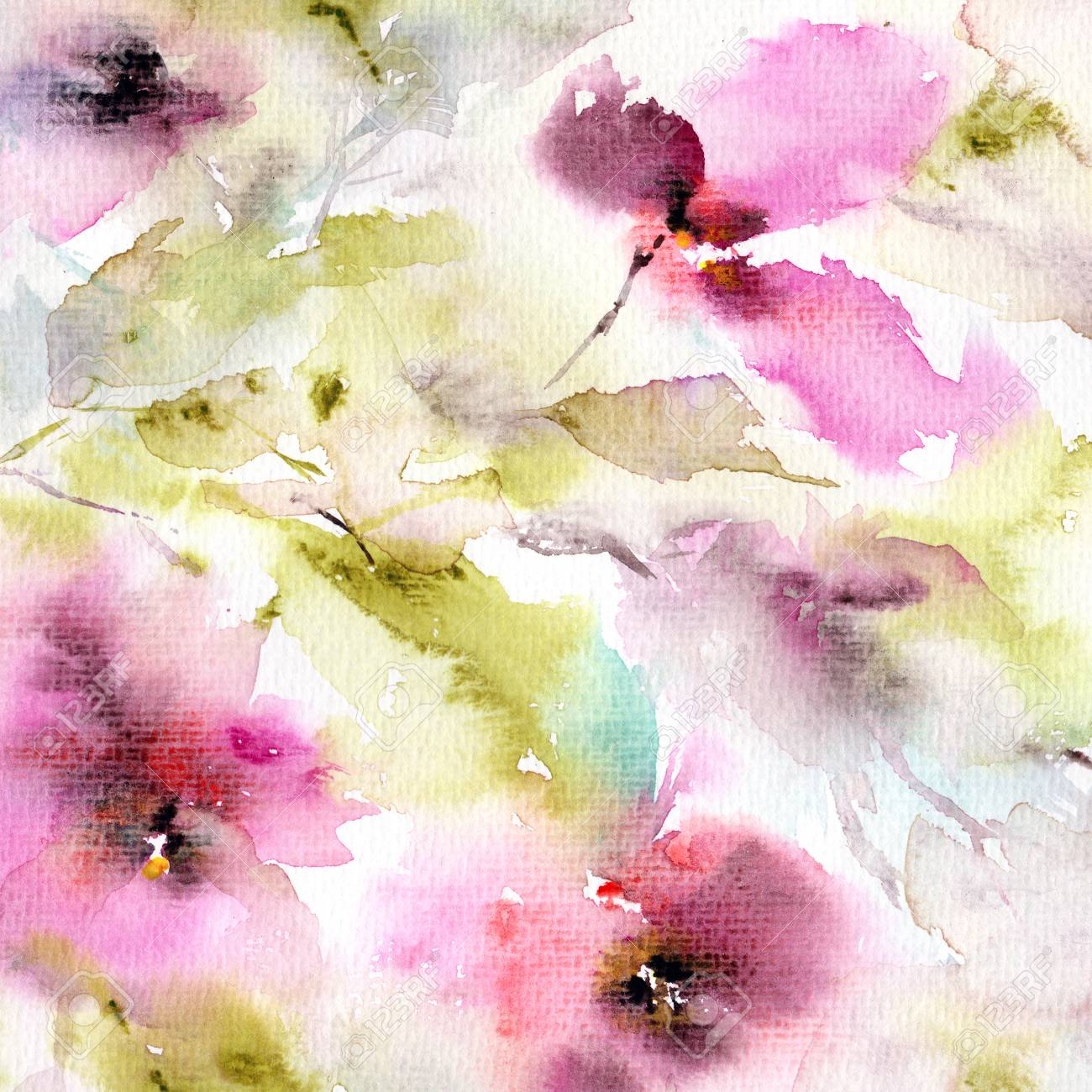 Retro Background With Flowers. Watercolor Floral Background... Stock ...