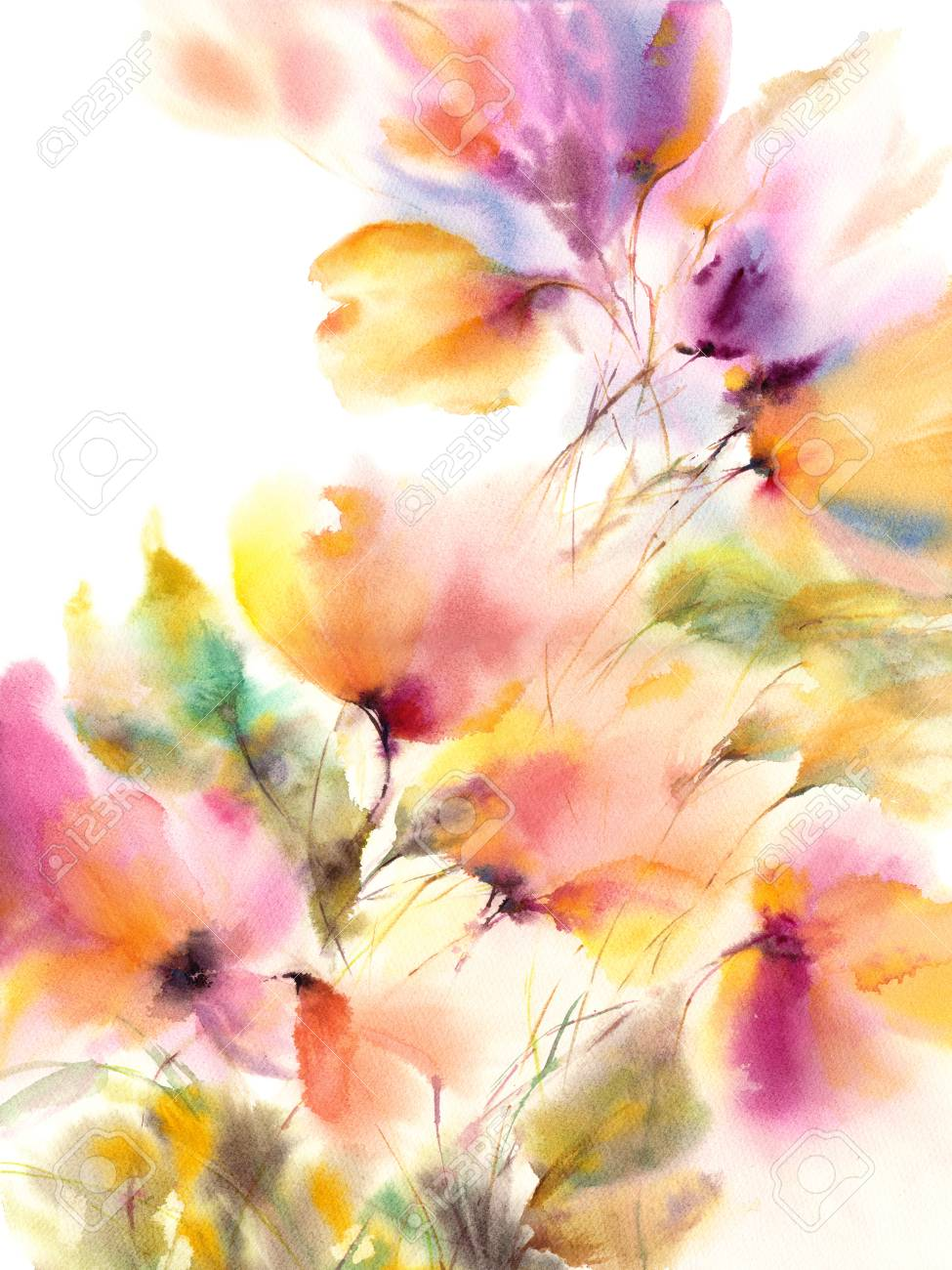 Floral Background Watercolor Floral Painting Delocate Colorful