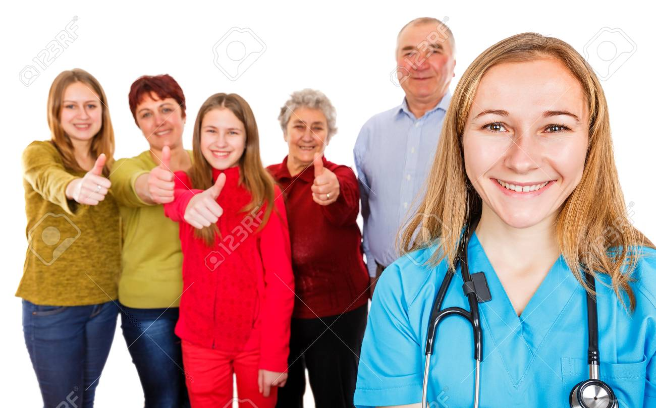 Photo of happy family showing thumbs up for the young doctor - 83146837