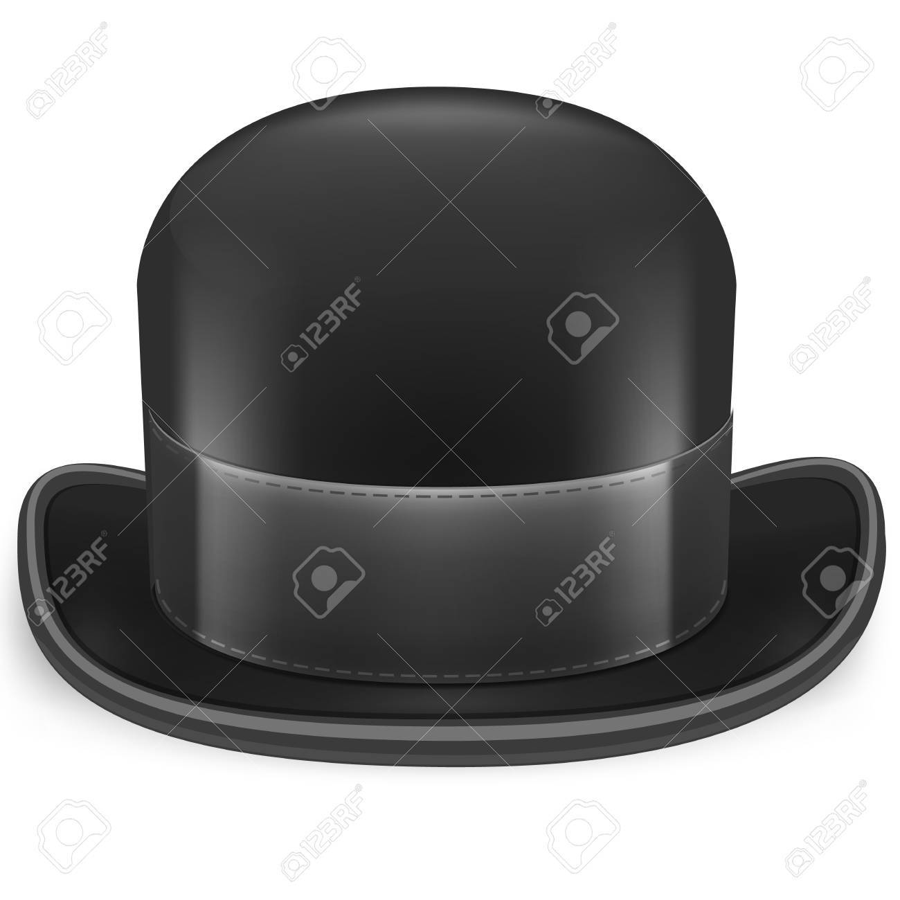 10d4519de34 Black Bowler Hat On A White Background Royalty Free Cliparts ...