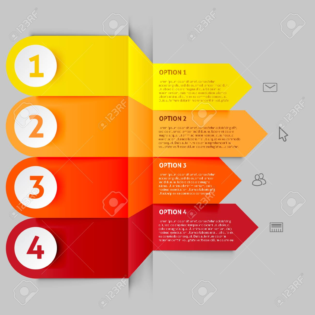 Modern arrow infographics elements origami style for workflow
