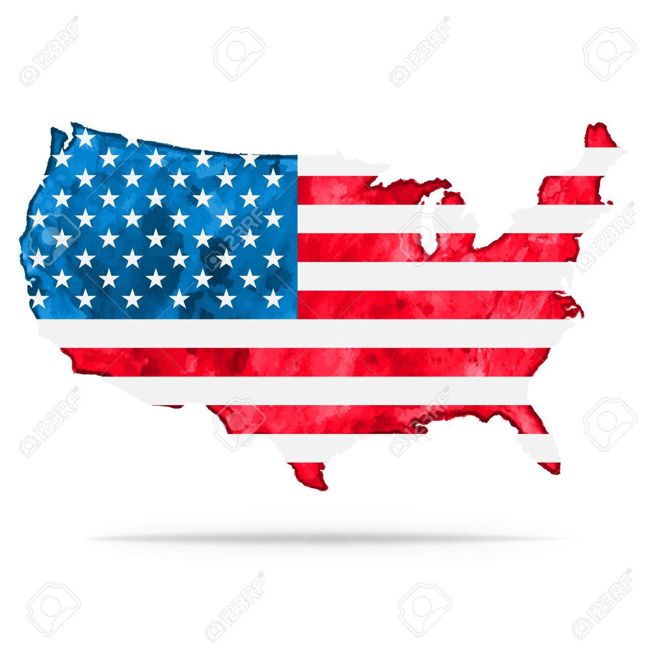 Usa Watercolor Vector Map With Flag Us Watercolor Vector Map - American-flag-us-map