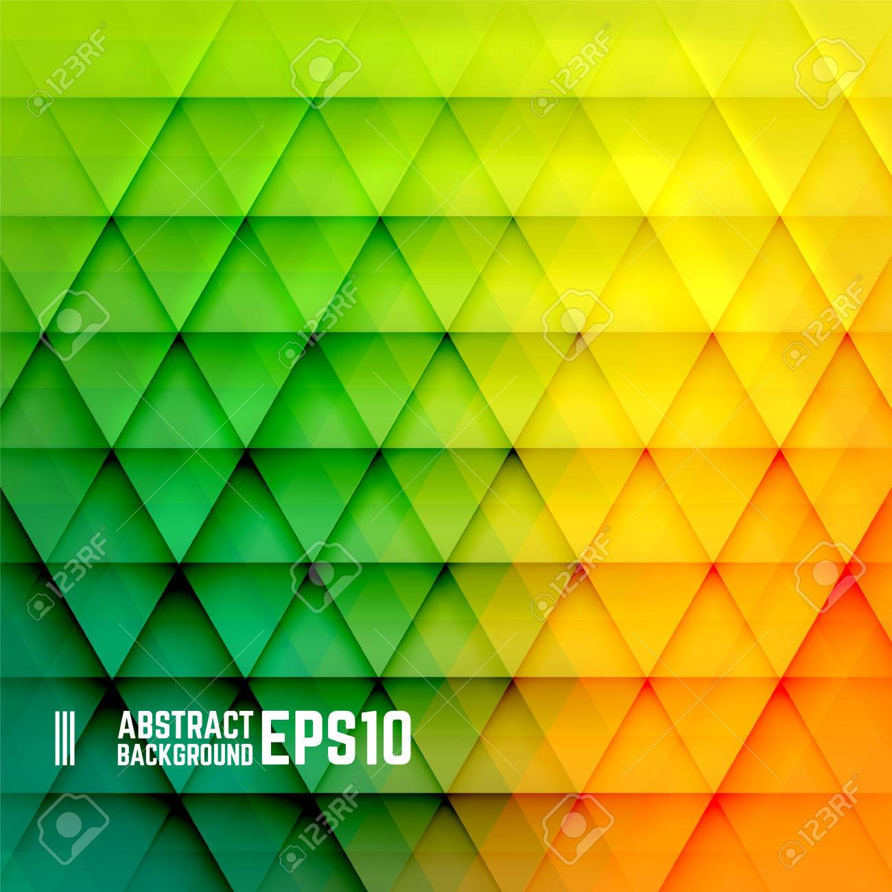 Yellow, orange and green abstract triangle background. Vector illustration. - 42810652