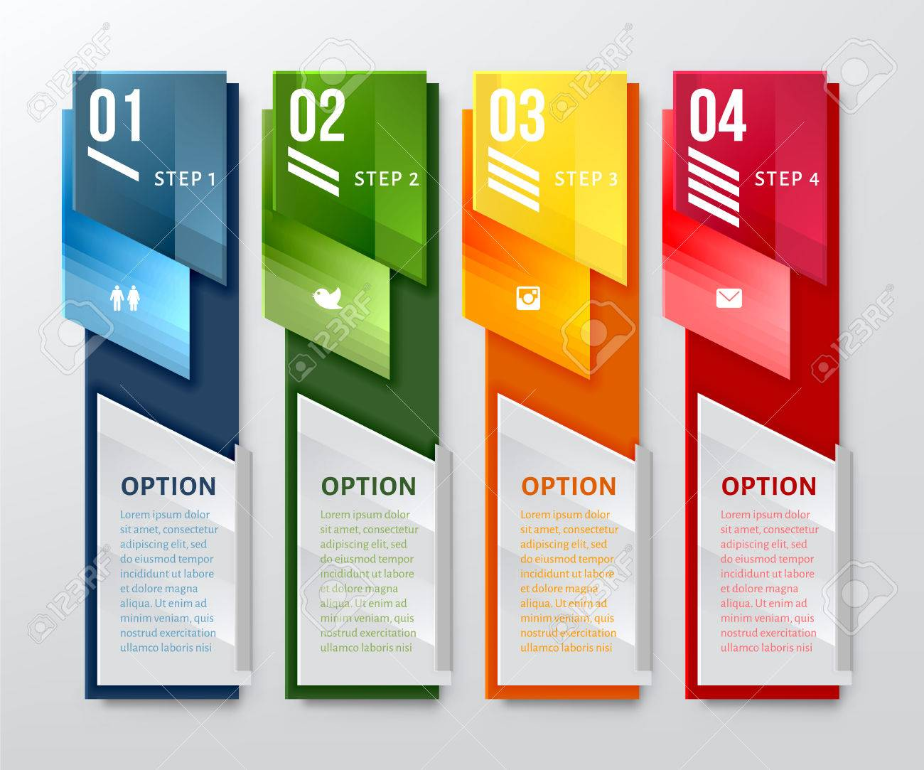 vertical design number banners template can be used for workflow