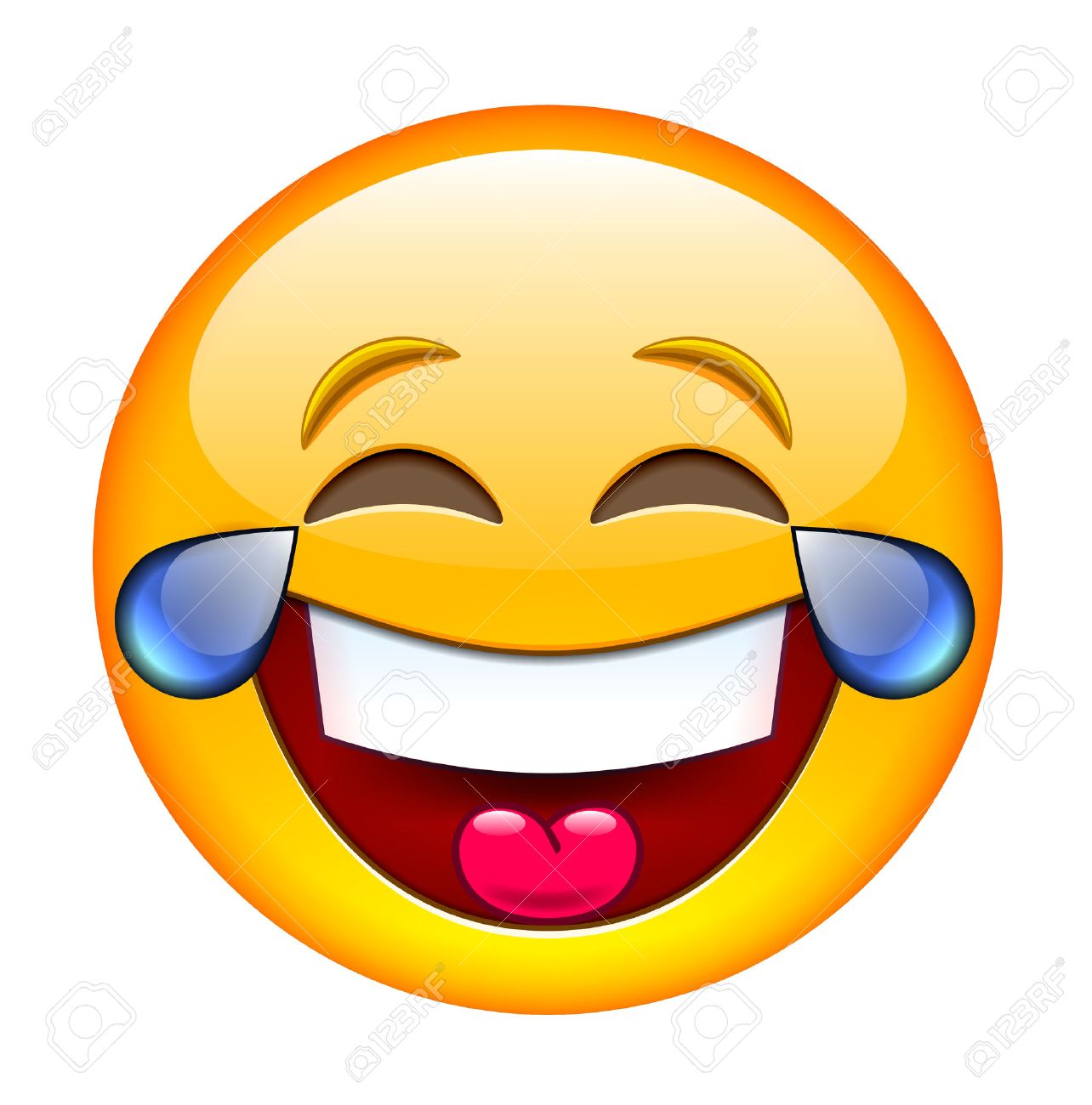 Laughing Emoticon with Tears. Isolated Illustration on White Background - 52958216