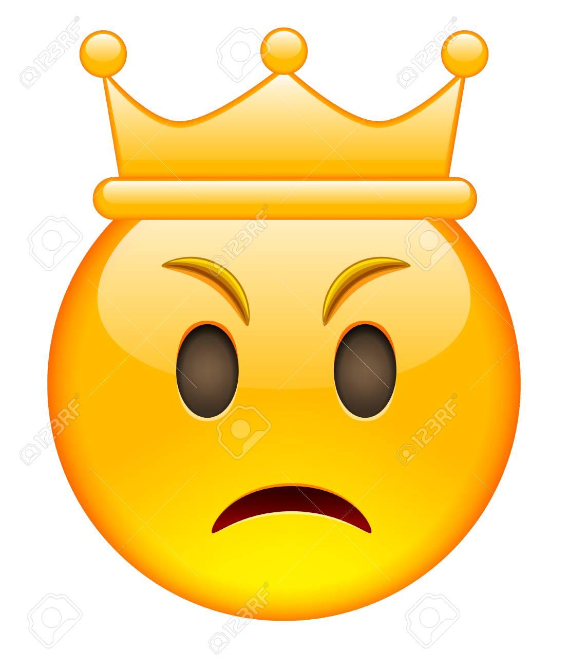 クラウンと怒っている顔 クラウンと怒っている絵文字 クラウンと怒っている笑顔の顔文字 白い背景の上の孤立したベクトル図のイラスト素材 ベクタ Image