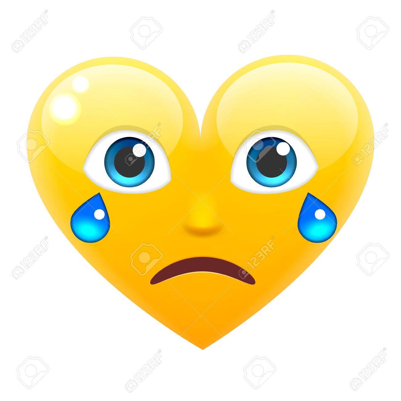 Pleurer Coeur Sourire Emoticones Avec Larmes Coeur Emoji Avec Larmes Pour Le 14 Fevrier Pour La Saint Valentin Isolated Vector Illustration Sur Fond Blanc Clip Art Libres De Droits Vecteurs Et Illustration