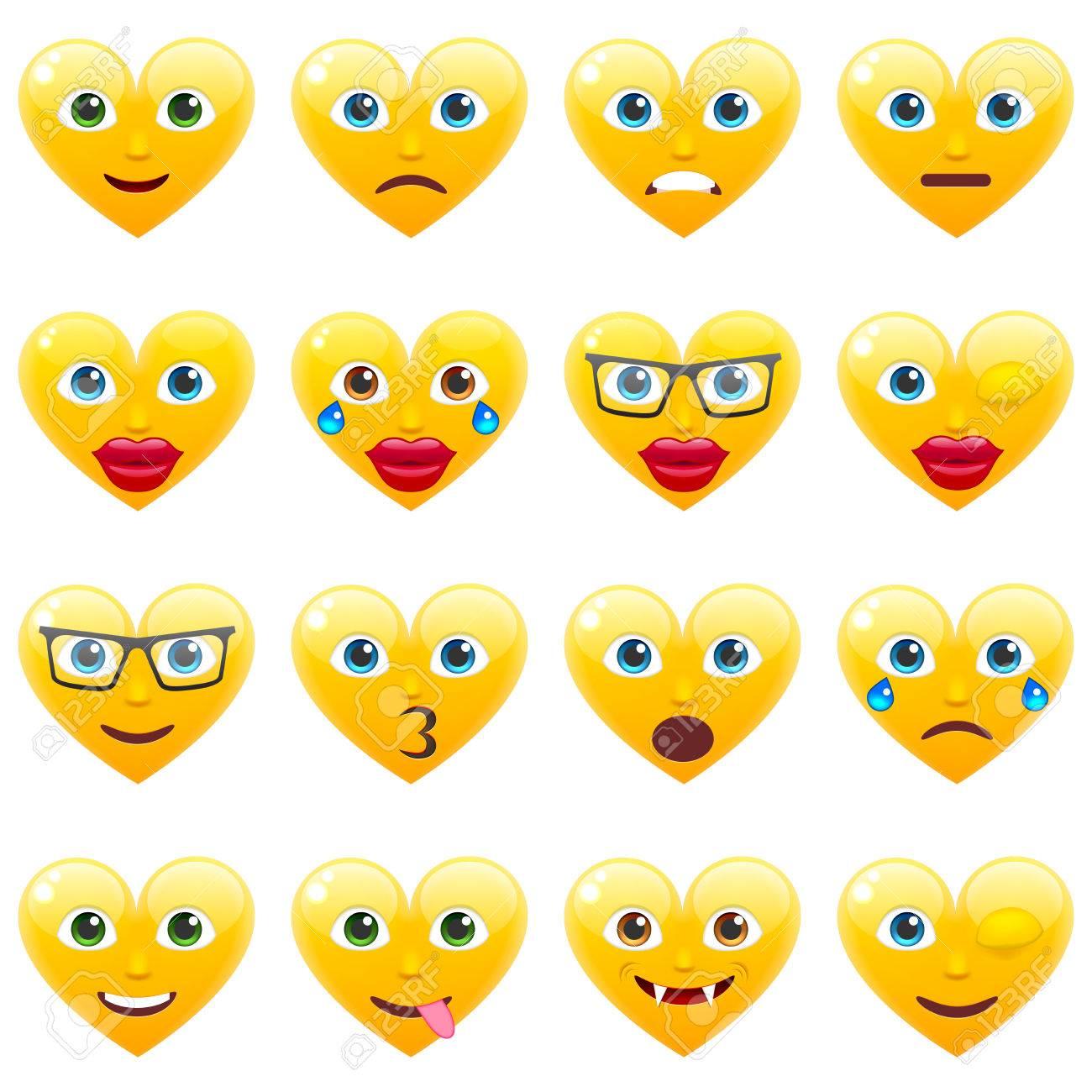 Set Von Sexy Gelbes Herz Lacheln Emoticons Fur Den Valentinstag