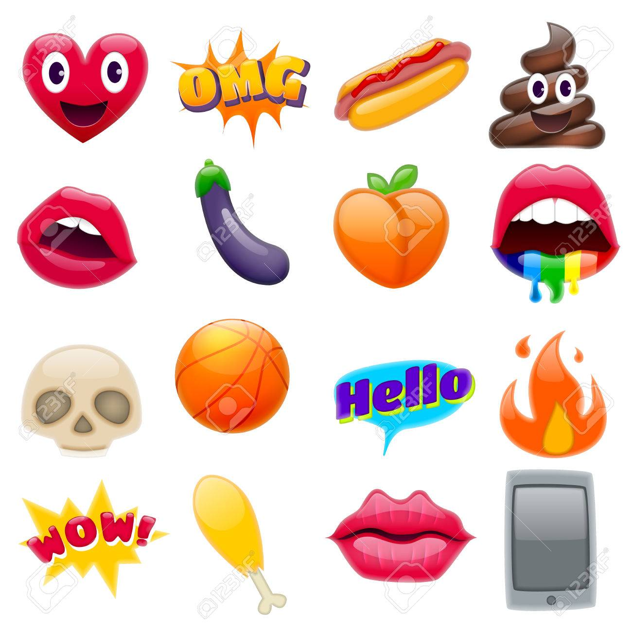 Set of Fantastic Smile Emoticons, Emoji Design Set. Bright Icons of Lips. Fire, Hello Expression, Cellphone, Eggplant, Peach, Hot Dog, Chicken Leg, Skulls. Stickers and Patches - 75401573