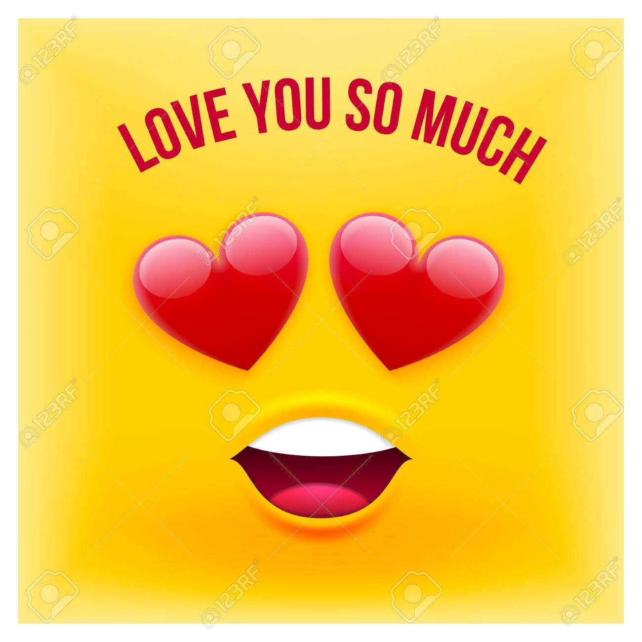 Vector Emoji Style Card With Text Love You So Much For Valentines
