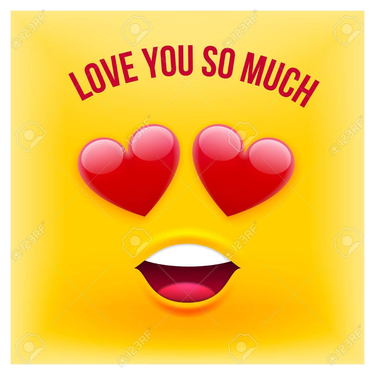Vektor Emoji Stil Karte Mit Text Liebe Sie So Viel Fur Valentinstag