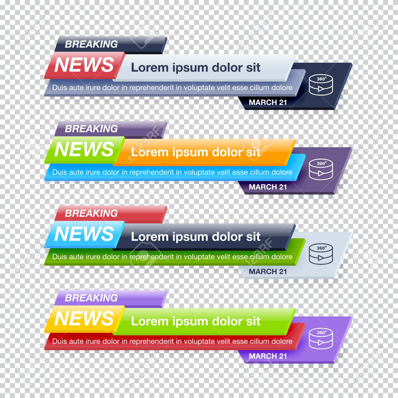 Set of Breaking News Title Templates on Transparent Background