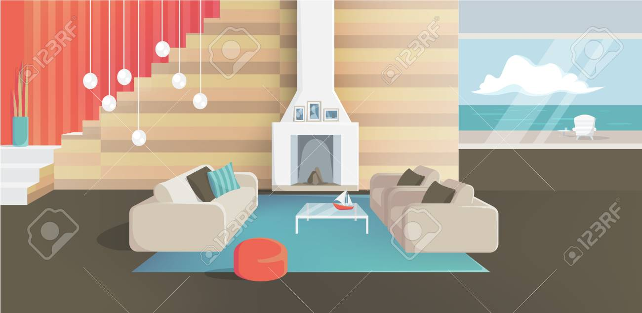 Furniture. Interior. Living room with couches, table, lamps,..