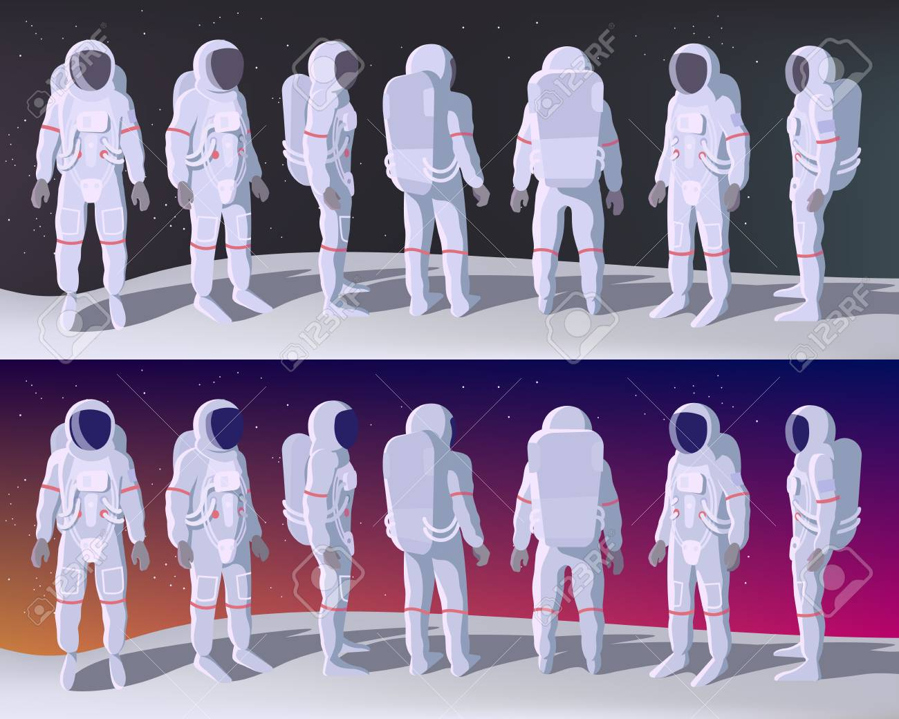 Astronaut in Different Positions Stands on the Moon with Space Behind. Cartoon or Flat Vector illustration - 116947172