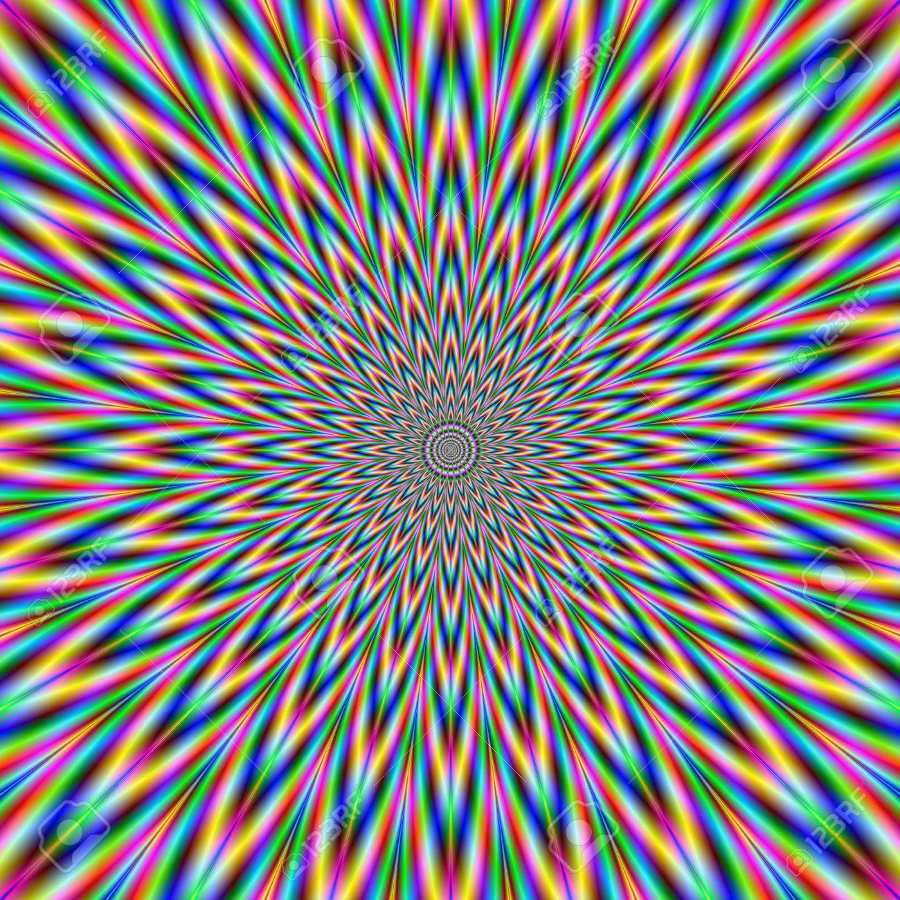 Image Numérique Fractale Abstrait Avec Un Design étoile Qui Explose En Bleu Rouge Vert Et Jaune