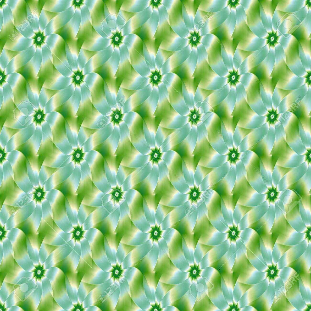Un résumé fractal image numérique avec une conception de fleur en faïence  bleu pâle, vert et blanc.