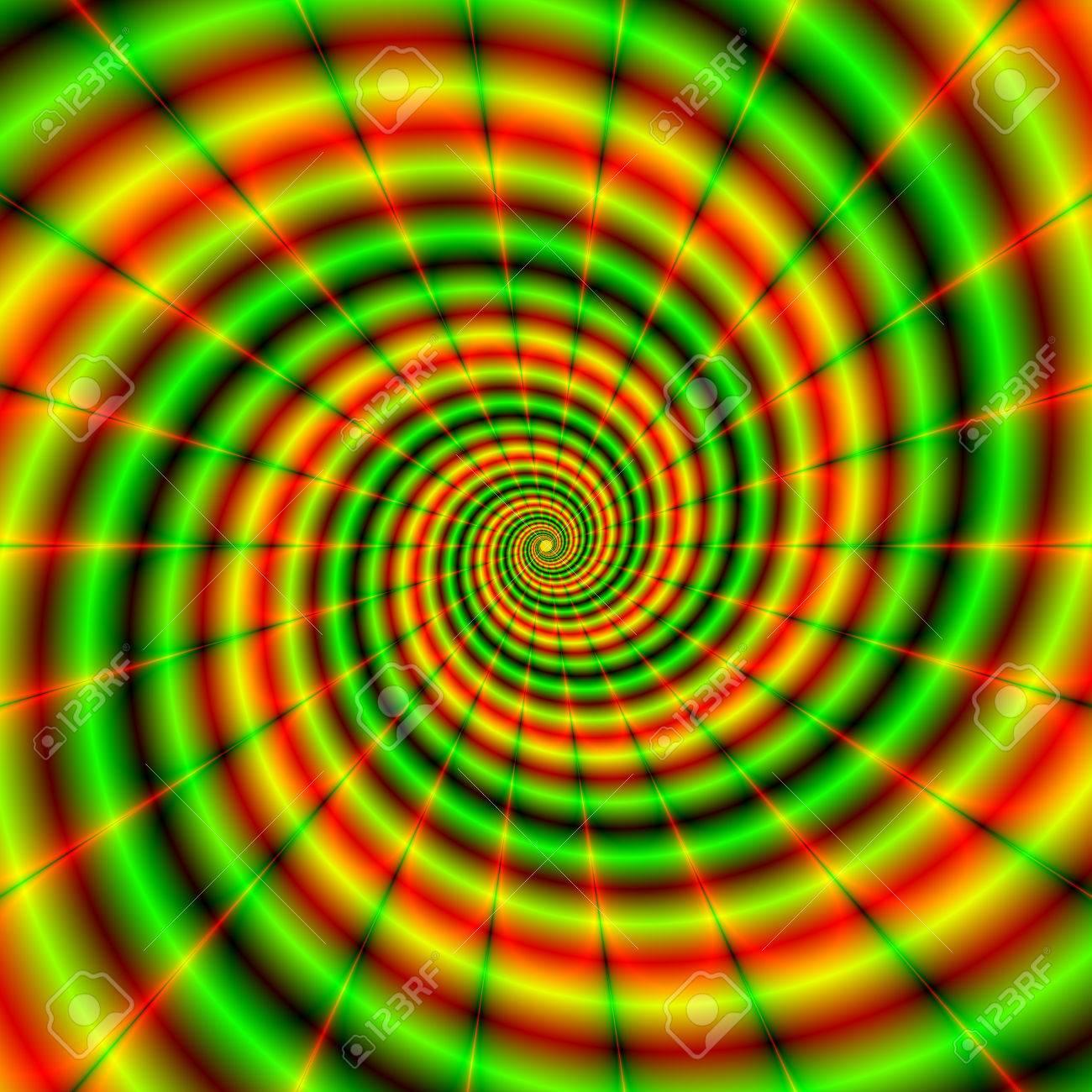 Una Imagen Fractal Con Un Diseño En Espiral En Verde Y Naranja ...