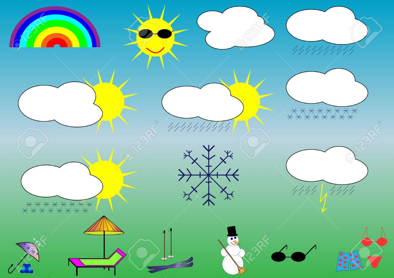 objects related to weather forecast and people u0027s activity royalty